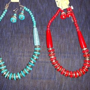 CHUNKY RED OR TURQUOISE NECKLACE SET